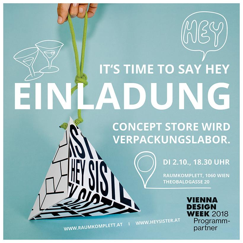 Einladung HEYSISTER Verpackungslabor Vienna Design Week 2018