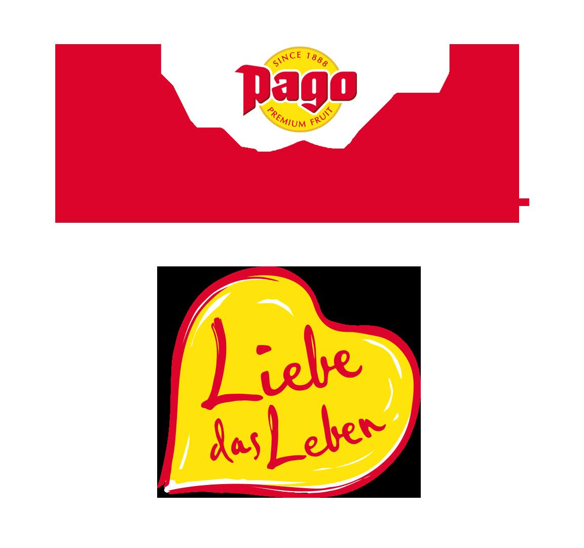 Pago Fruchtsaft Icon und Slogan Liebe das Leben