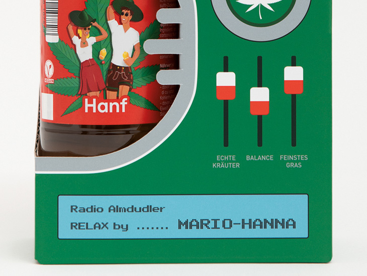 Almdudler Hanf Radio Box Detail
